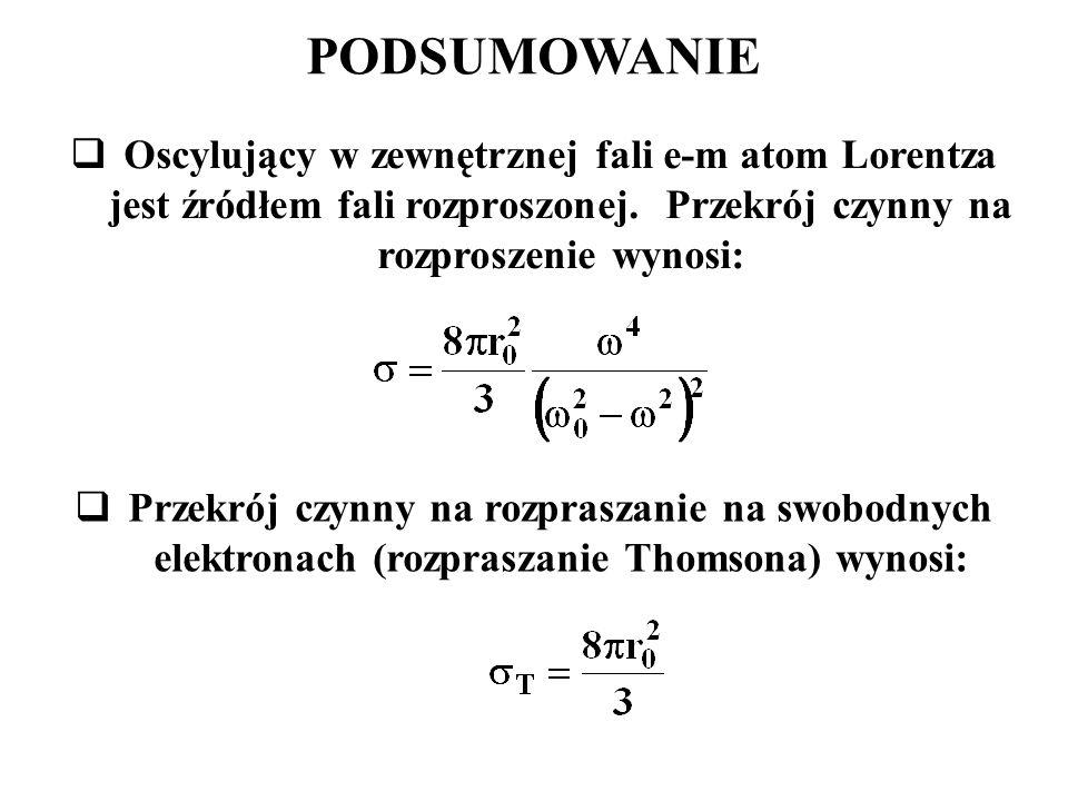 PODSUMOWANIE Oscylujący w zewnętrznej fali e-m atom Lorentza jest źródłem fali rozproszonej. Przekrój czynny na rozproszenie wynosi: