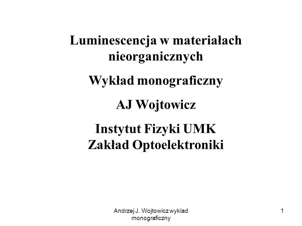 Luminescencja w materiałach nieorganicznych Wykład monograficzny