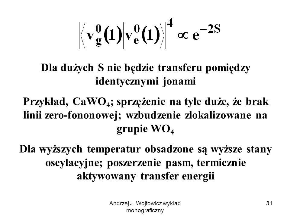 Dla dużych S nie będzie transferu pomiędzy identycznymi jonami