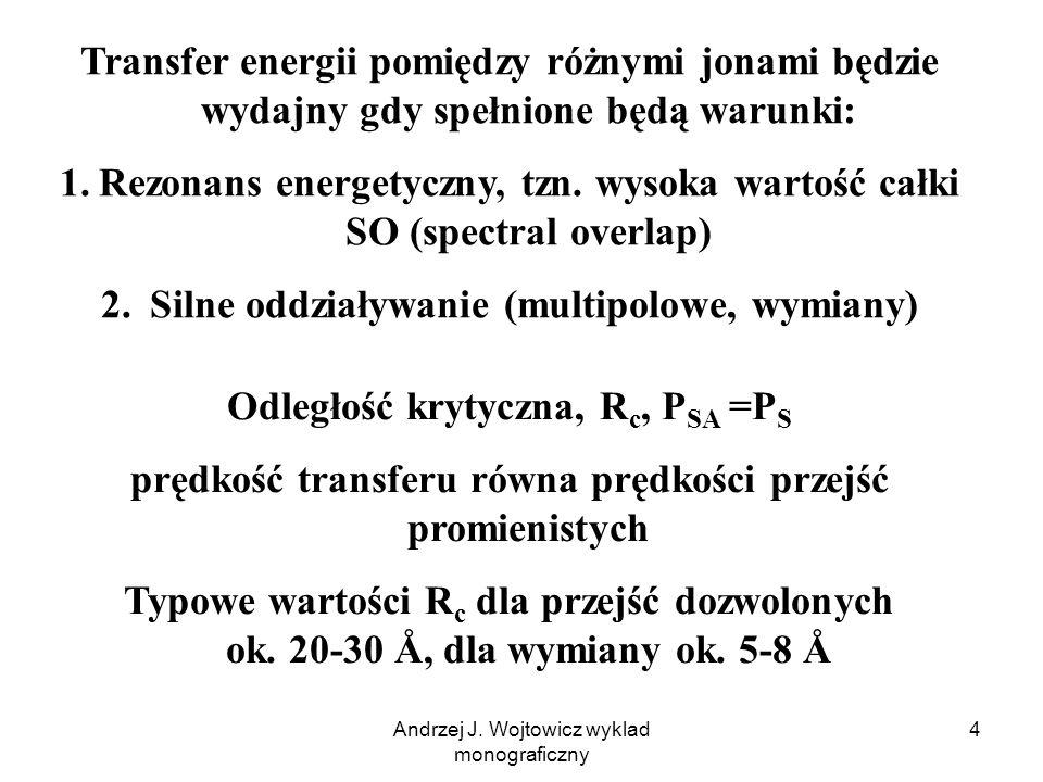 Rezonans energetyczny, tzn. wysoka wartość całki SO (spectral overlap)