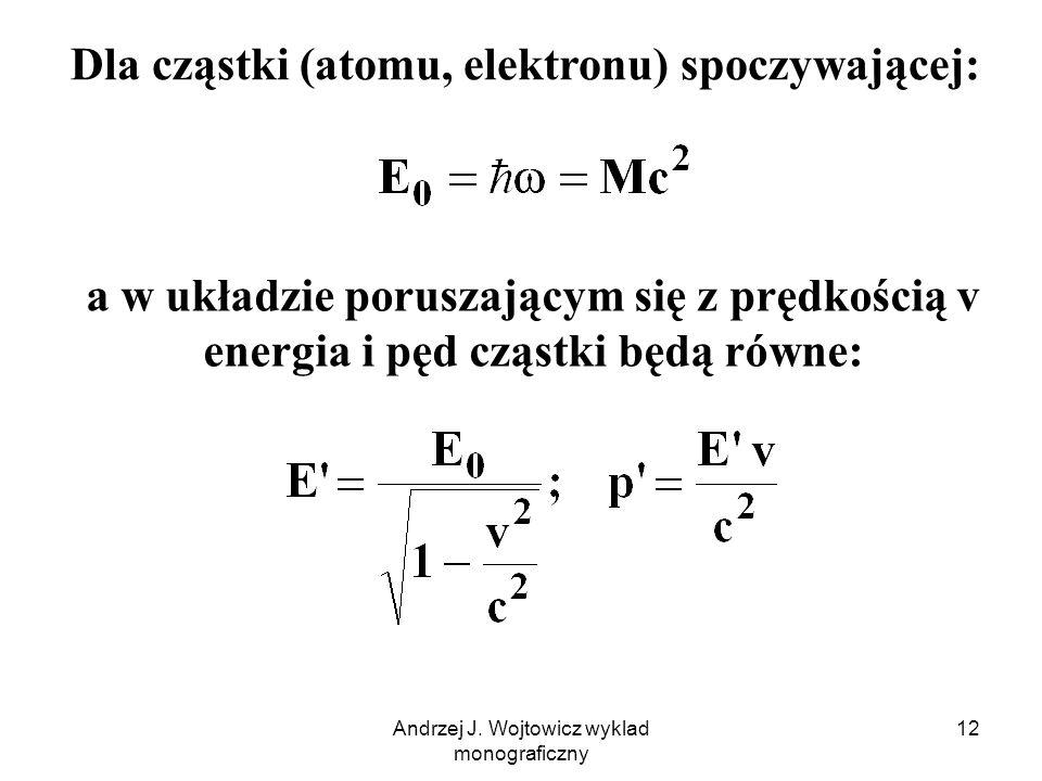 Dla cząstki (atomu, elektronu) spoczywającej: