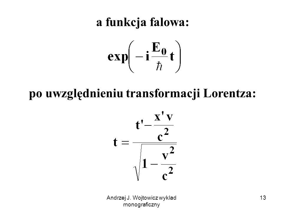 po uwzględnieniu transformacji Lorentza: