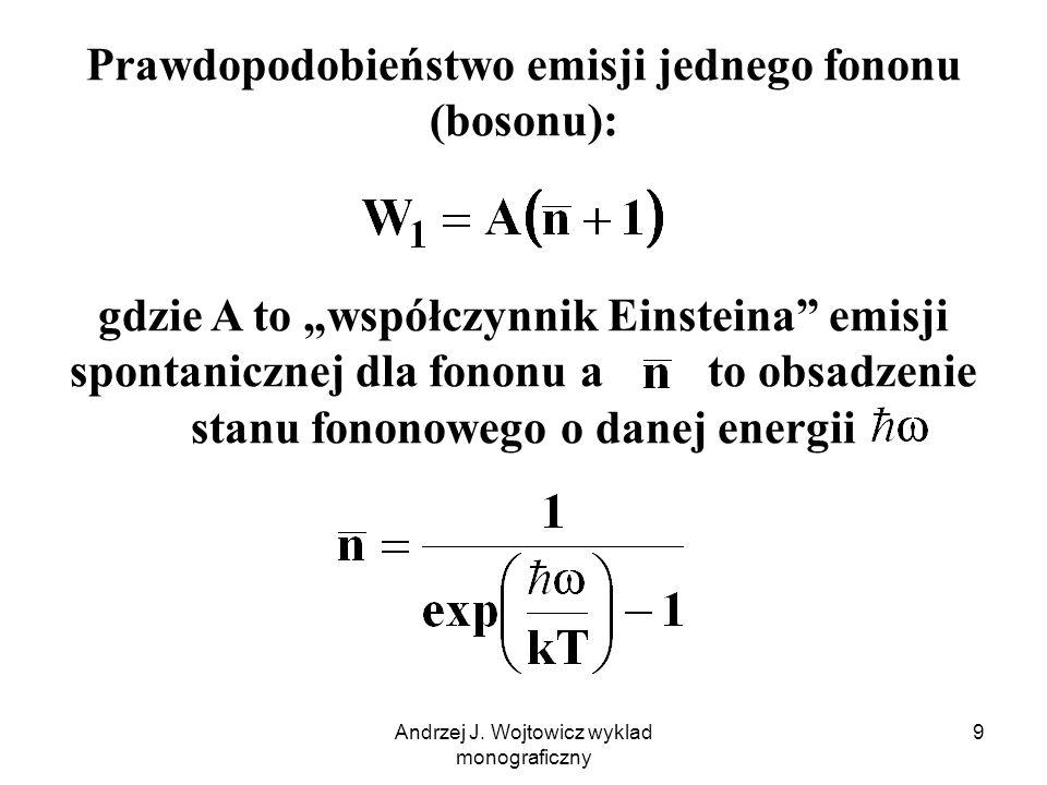 Prawdopodobieństwo emisji jednego fononu (bosonu):