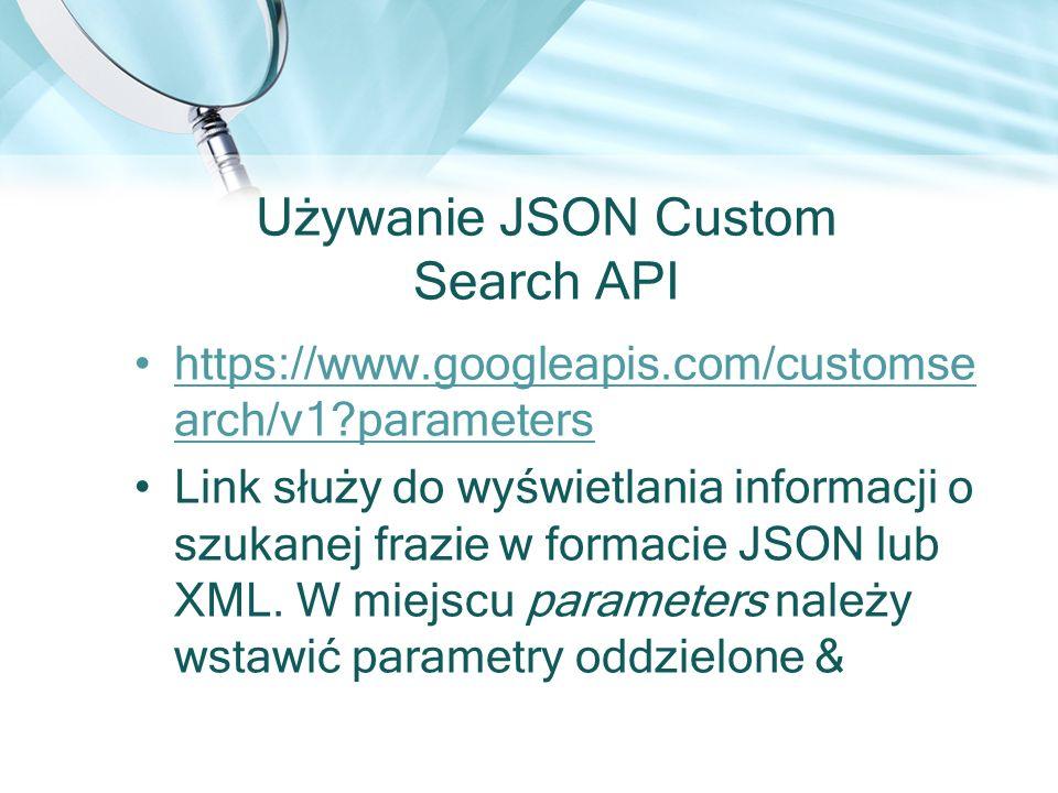 Używanie JSON Custom Search API