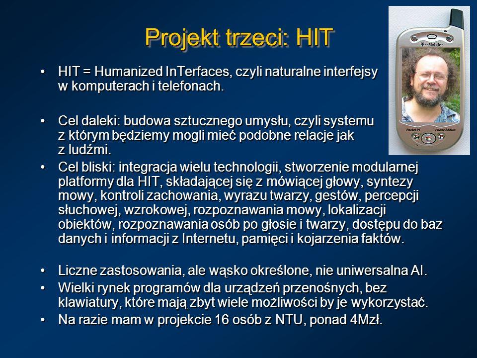 Projekt trzeci: HITHIT = Humanized InTerfaces, czyli naturalne interfejsy w komputerach i telefonach.