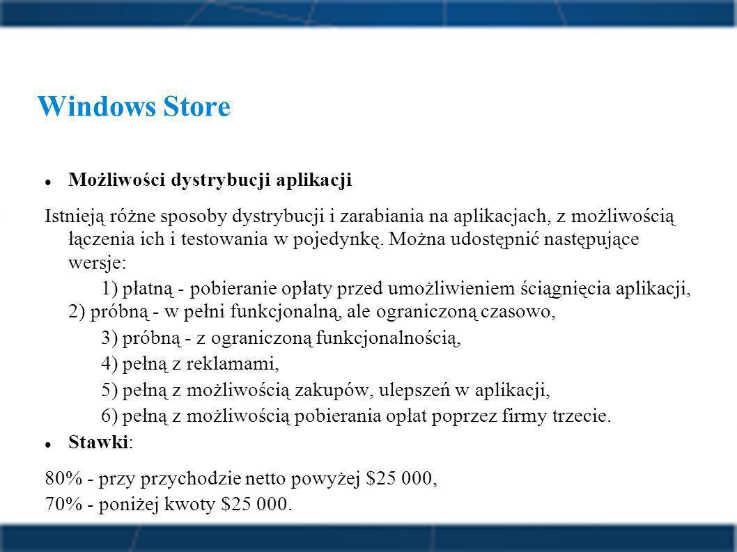 Windows Store Możliwości dystrybucji aplikacji