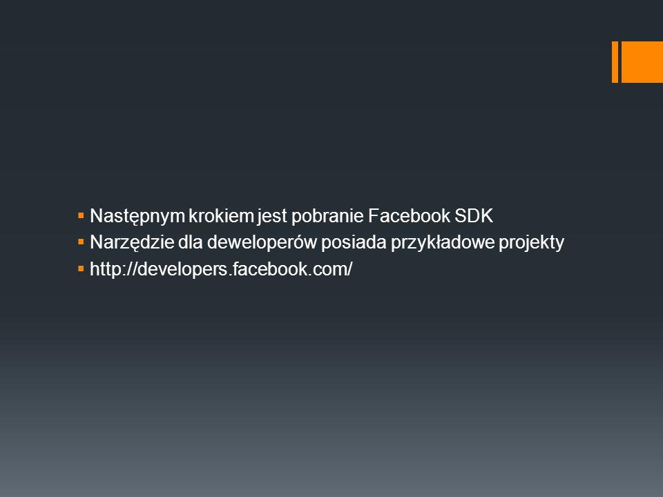 Następnym krokiem jest pobranie Facebook SDK