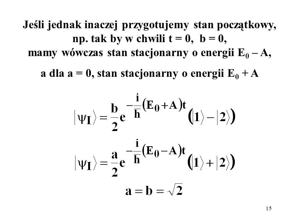 a dla a = 0, stan stacjonarny o energii E0 + A