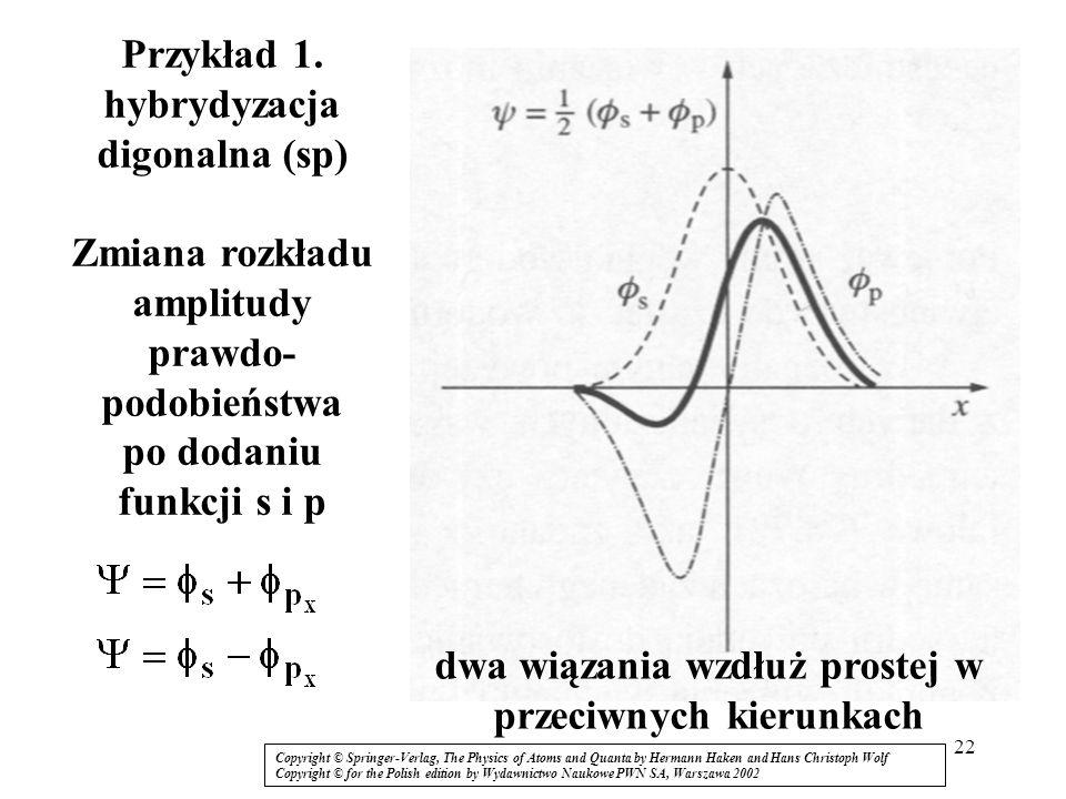 dwa wiązania wzdłuż prostej w przeciwnych kierunkach