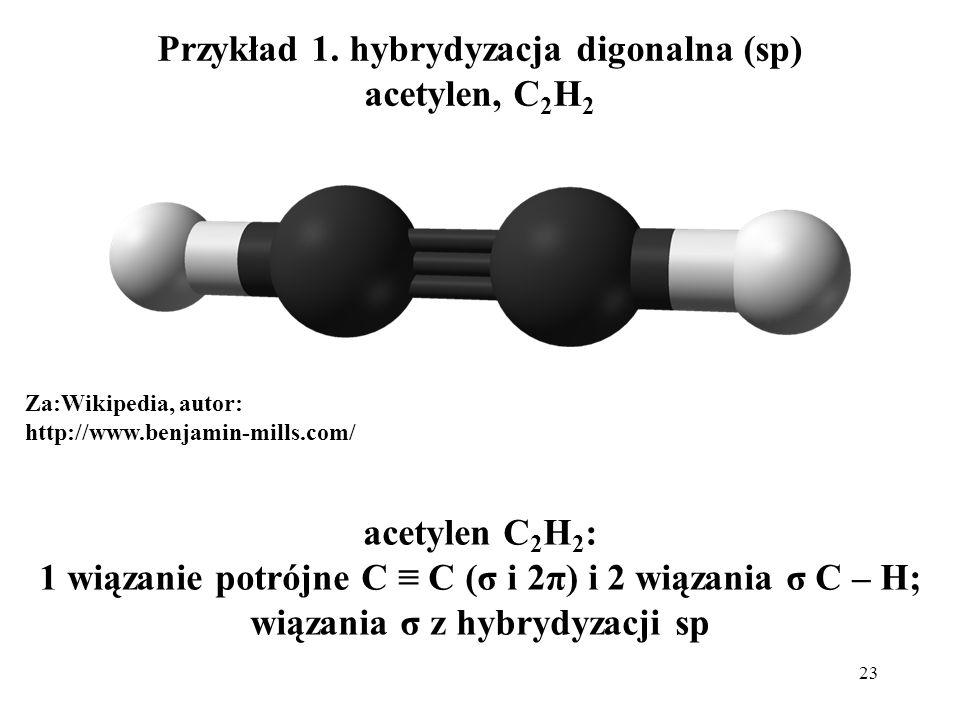 Przykład 1. hybrydyzacja digonalna (sp) acetylen, C2H2