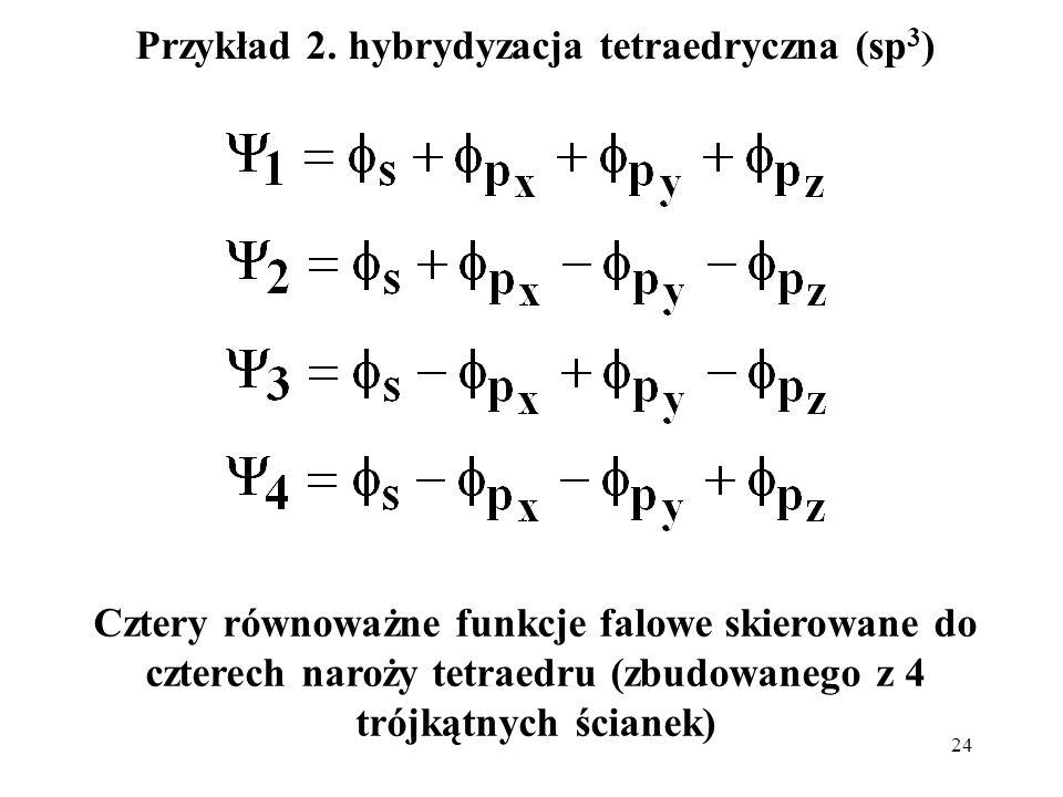 Przykład 2. hybrydyzacja tetraedryczna (sp3)