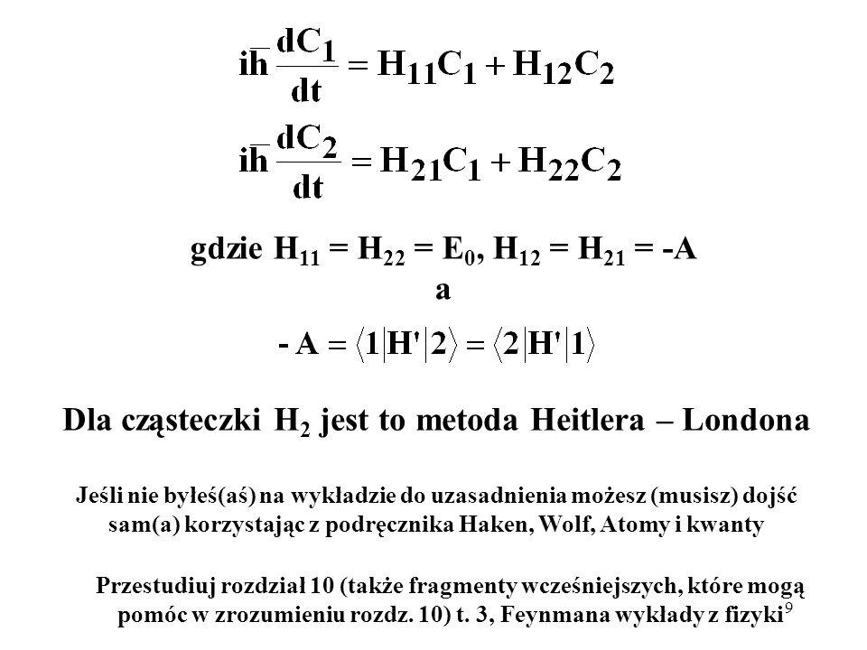 Dla cząsteczki H2 jest to metoda Heitlera – Londona