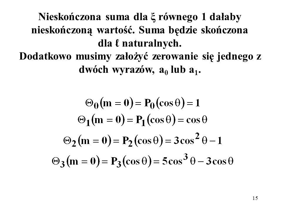 Nieskończona suma dla ξ równego 1 dałaby nieskończoną wartość