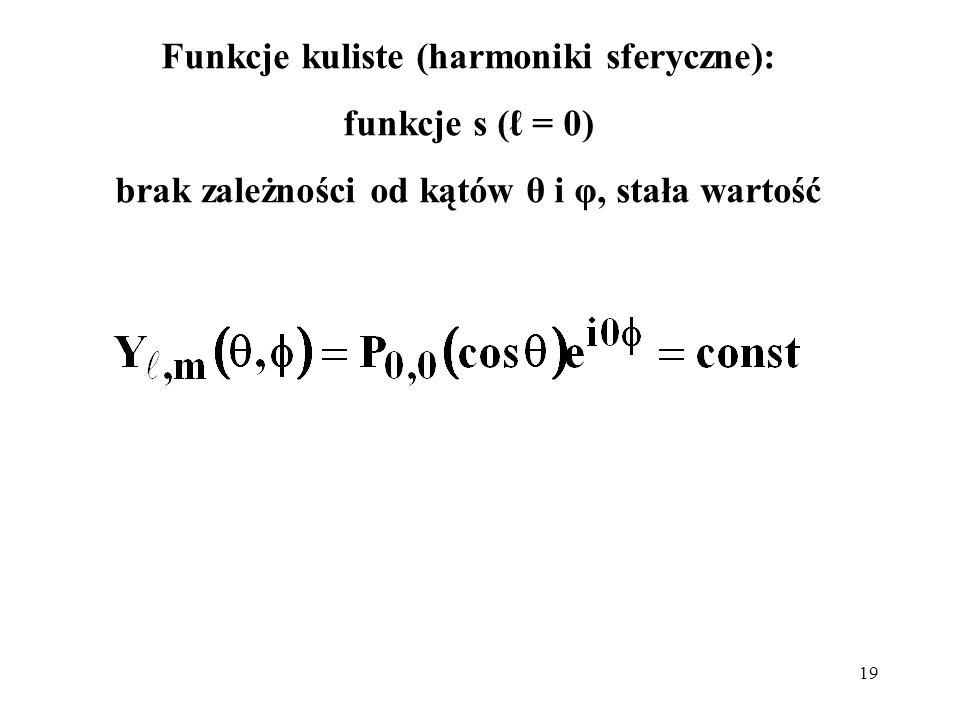 Funkcje kuliste (harmoniki sferyczne): funkcje s (ℓ = 0)