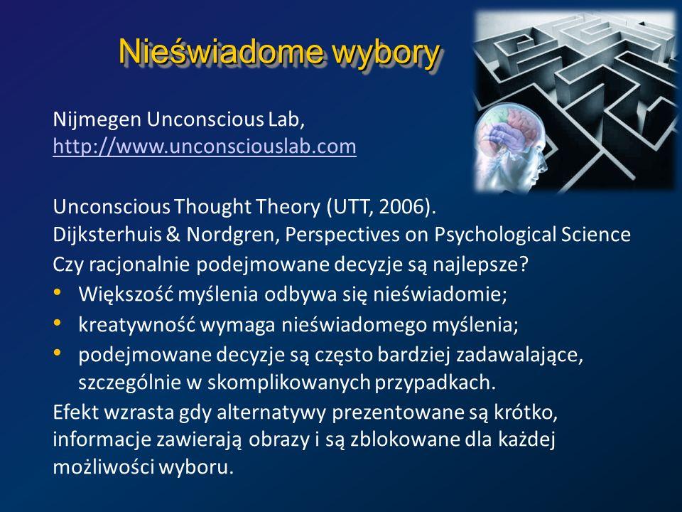 Nieświadome wybory Nijmegen Unconscious Lab, http://www.unconsciouslab.com.