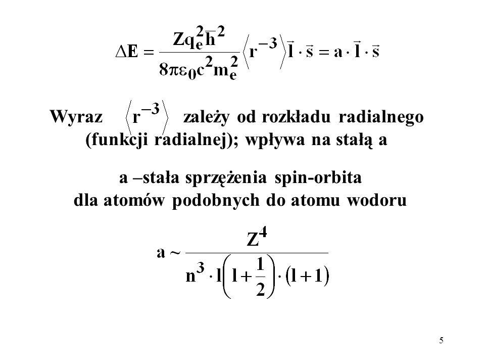 a –stała sprzężenia spin-orbita dla atomów podobnych do atomu wodoru