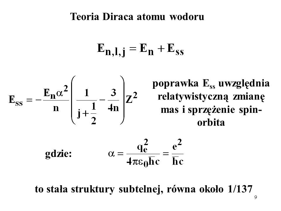 Teoria Diraca atomu wodoru