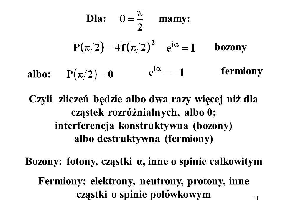 Bozony: fotony, cząstki α, inne o spinie całkowitym