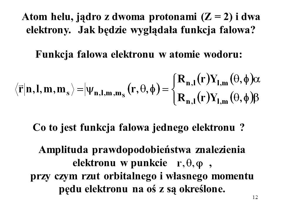 Funkcja falowa elektronu w atomie wodoru: