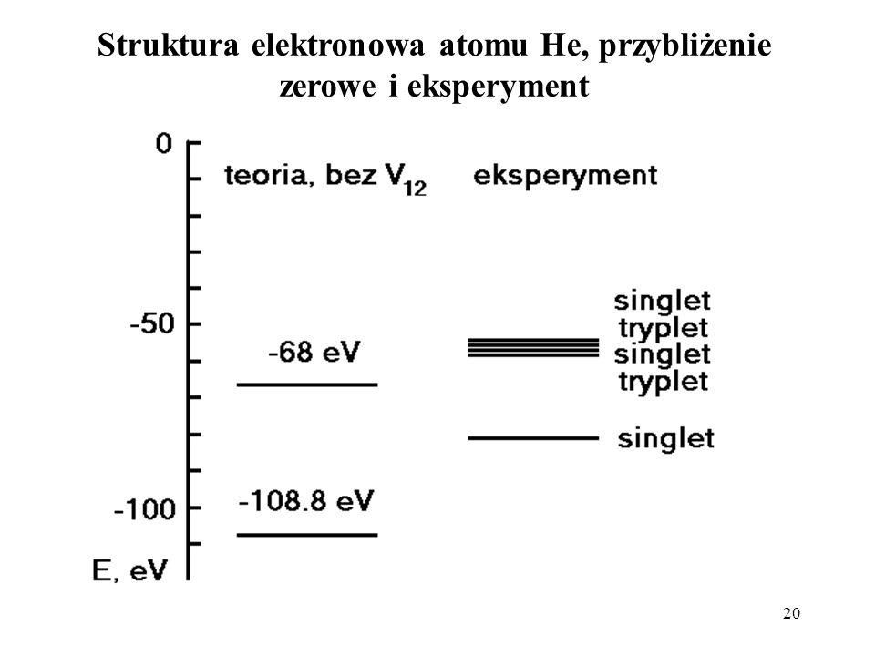 Struktura elektronowa atomu He, przybliżenie zerowe i eksperyment