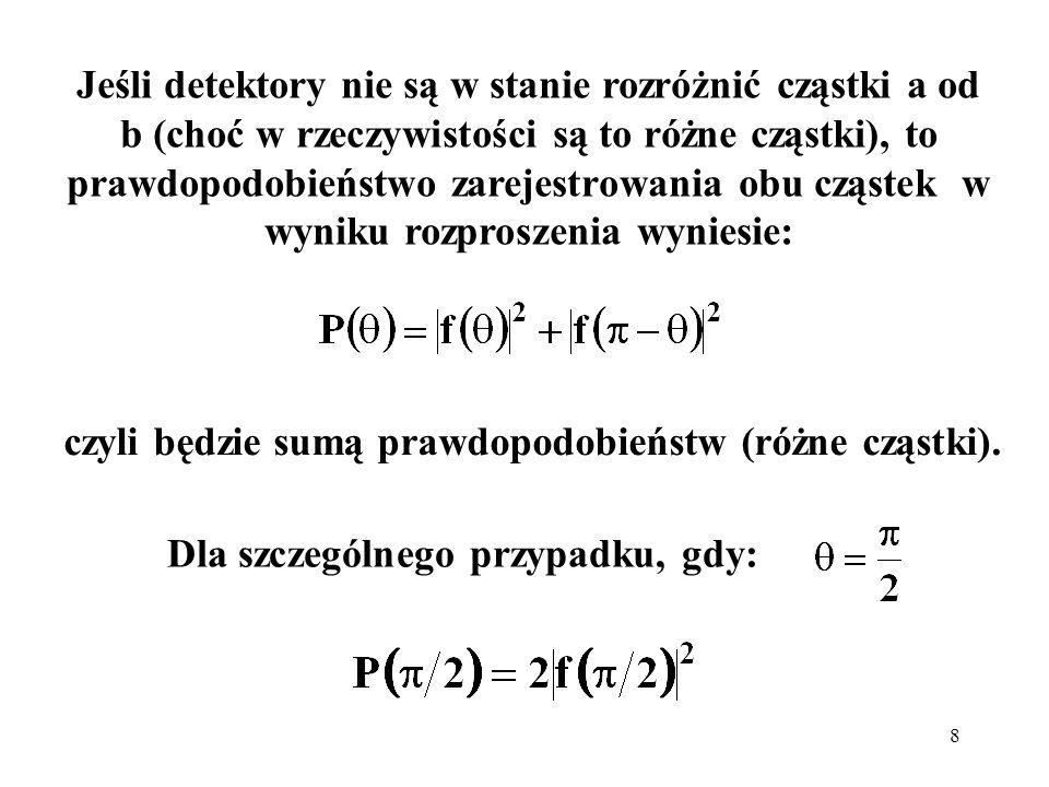 czyli będzie sumą prawdopodobieństw (różne cząstki).