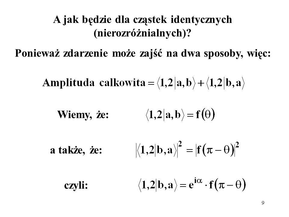 A jak będzie dla cząstek identycznych (nierozróżnialnych)