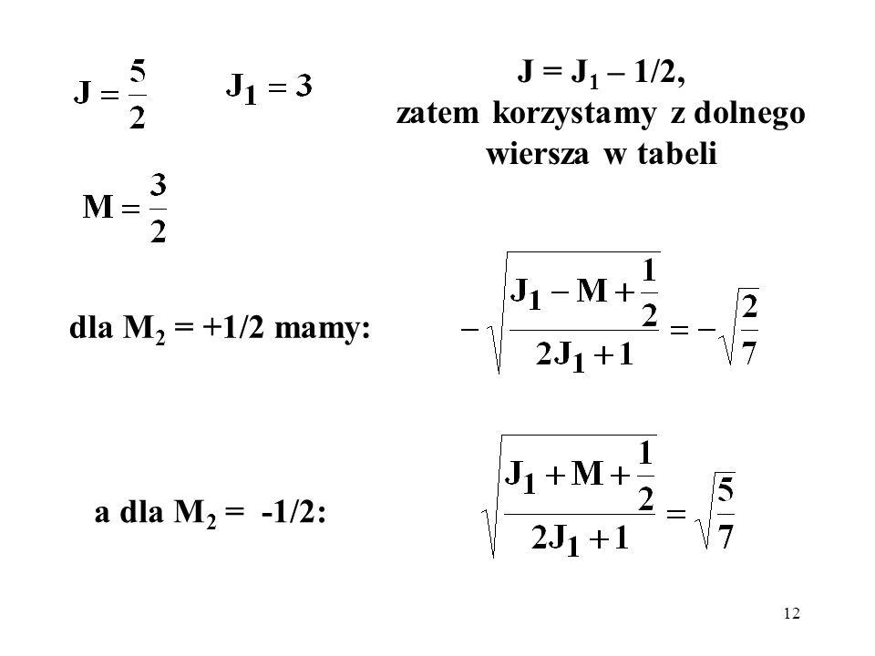 J = J1 – 1/2, zatem korzystamy z dolnego wiersza w tabeli