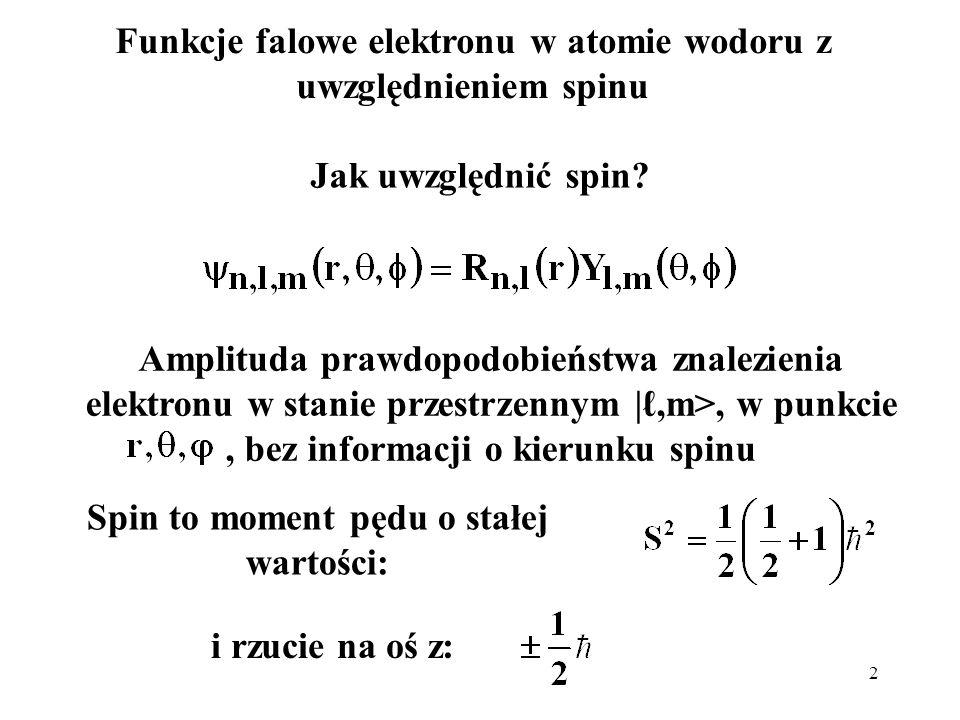 Funkcje falowe elektronu w atomie wodoru z uwzględnieniem spinu