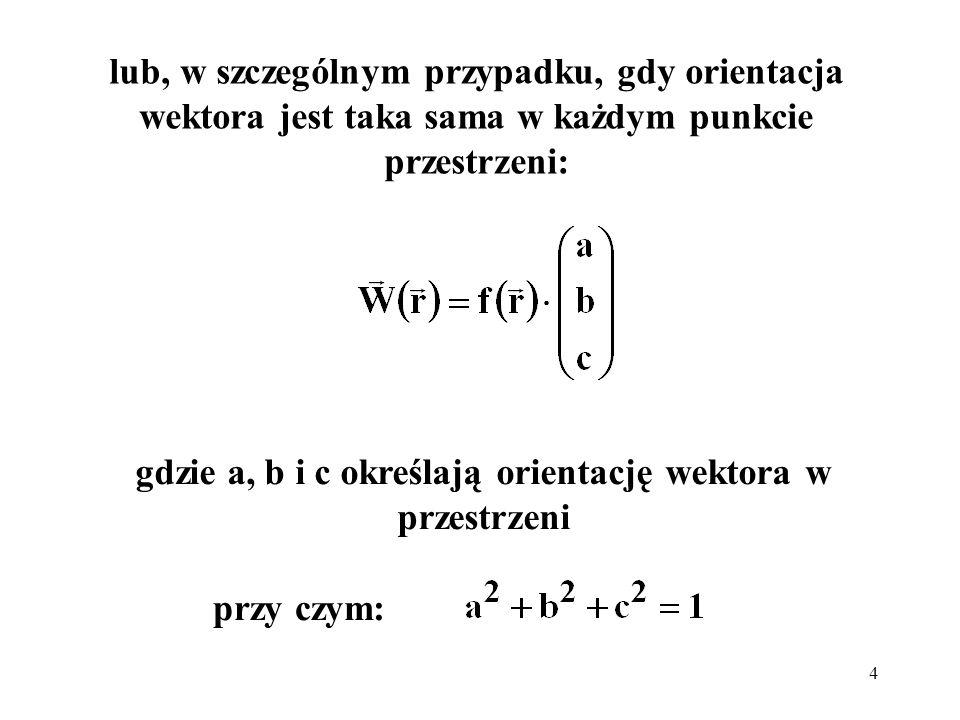 gdzie a, b i c określają orientację wektora w przestrzeni