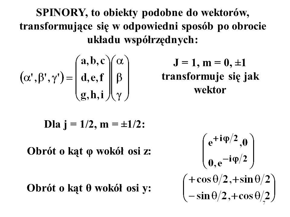J = 1, m = 0, ±1 transformuje się jak wektor
