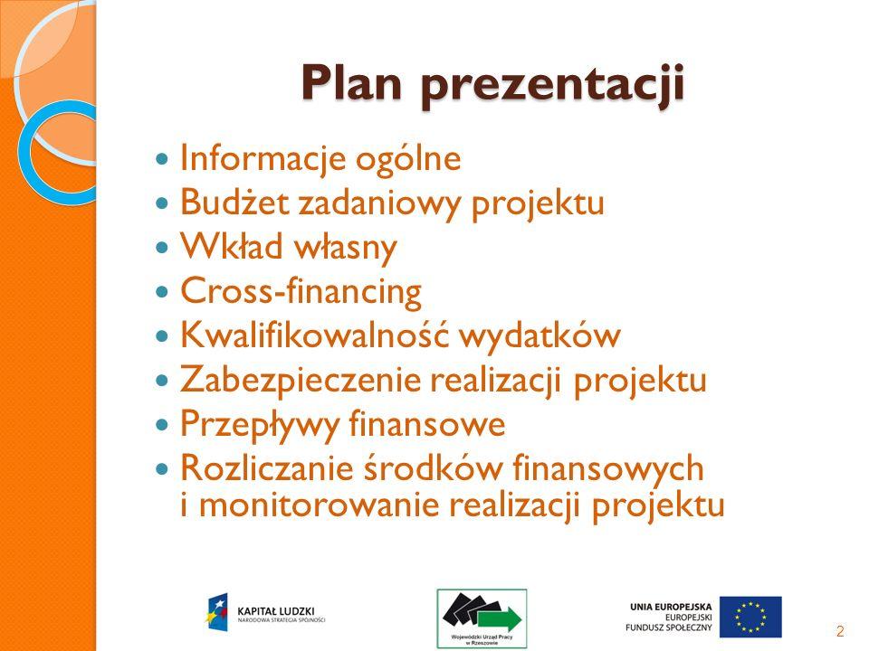 Plan prezentacji Informacje ogólne Budżet zadaniowy projektu