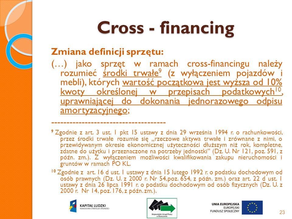 Cross - financing Zmiana definicji sprzętu: