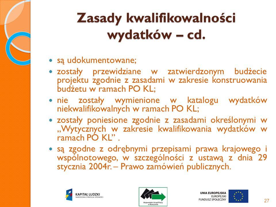 Zasady kwalifikowalności wydatków – cd.