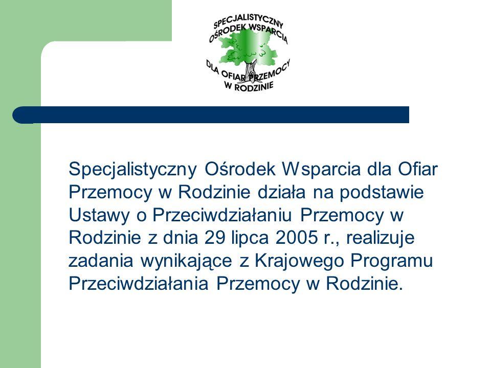 Specjalistyczny Ośrodek Wsparcia dla Ofiar Przemocy w Rodzinie działa na podstawie Ustawy o Przeciwdziałaniu Przemocy w Rodzinie z dnia 29 lipca 2005 r., realizuje zadania wynikające z Krajowego Programu Przeciwdziałania Przemocy w Rodzinie.