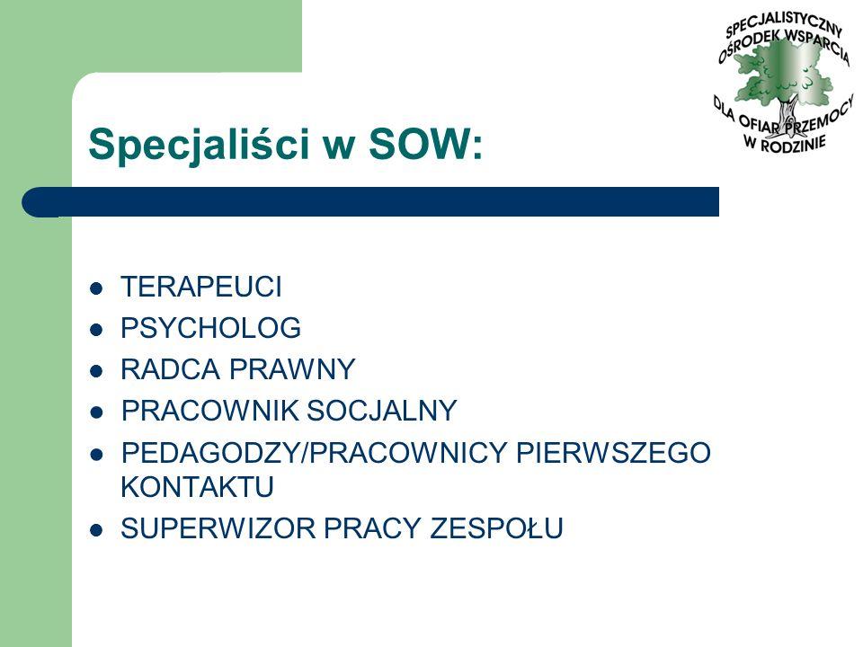 Specjaliści w SOW: TERAPEUCI PSYCHOLOG RADCA PRAWNY
