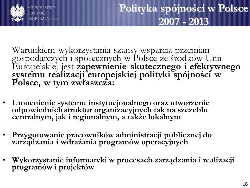 Polityka spójności w Polsce 2007 - 2013