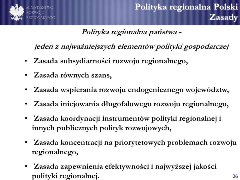 Polityka regionalna Polski Zasady