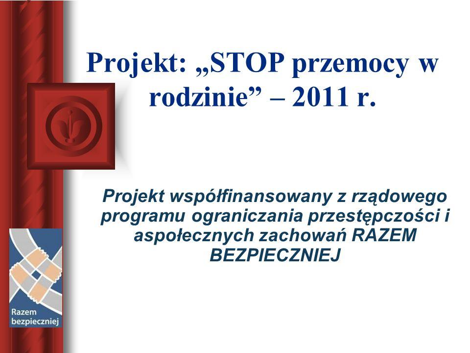 """Projekt: """"STOP przemocy w rodzinie – 2011 r."""