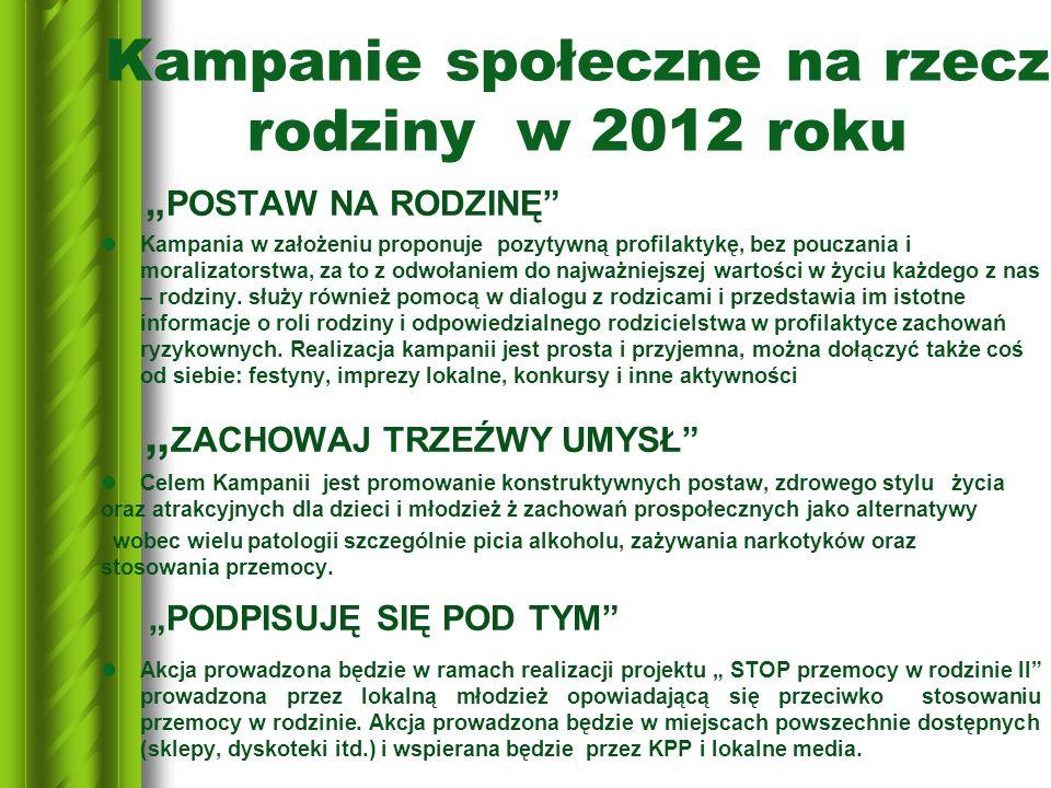 Kampanie społeczne na rzecz rodziny w 2012 roku
