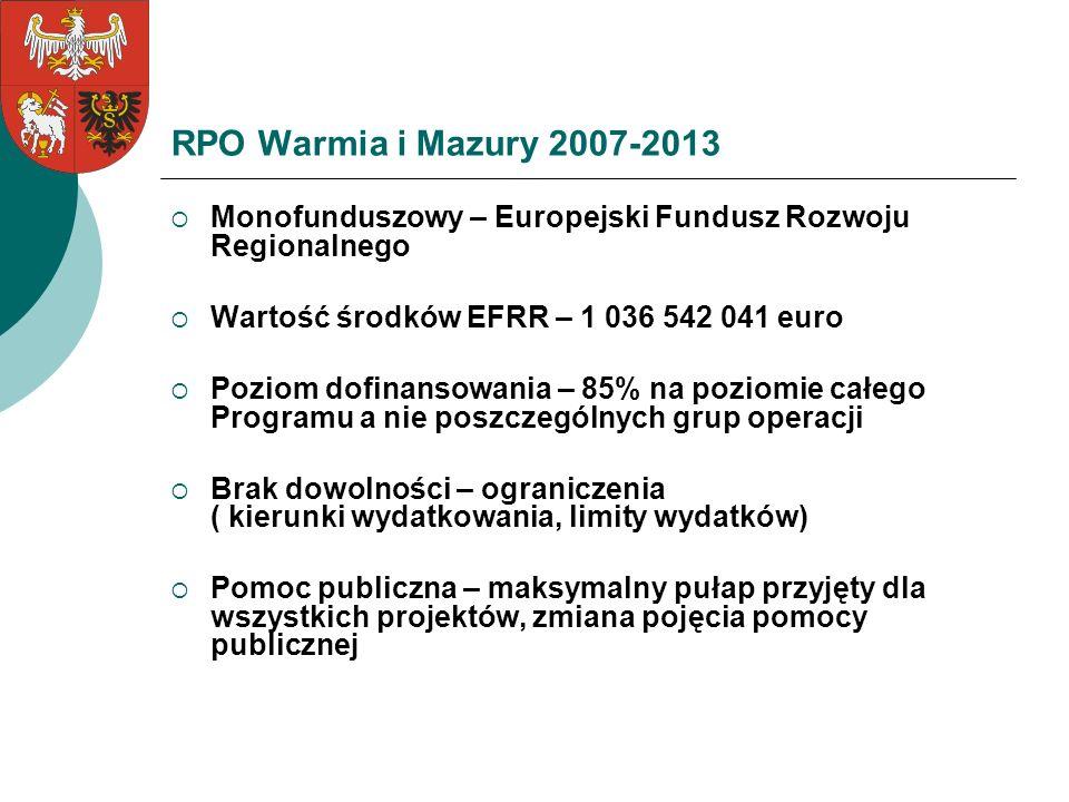RPO Warmia i Mazury 2007-2013 Monofunduszowy – Europejski Fundusz Rozwoju Regionalnego. Wartość środków EFRR – 1 036 542 041 euro.