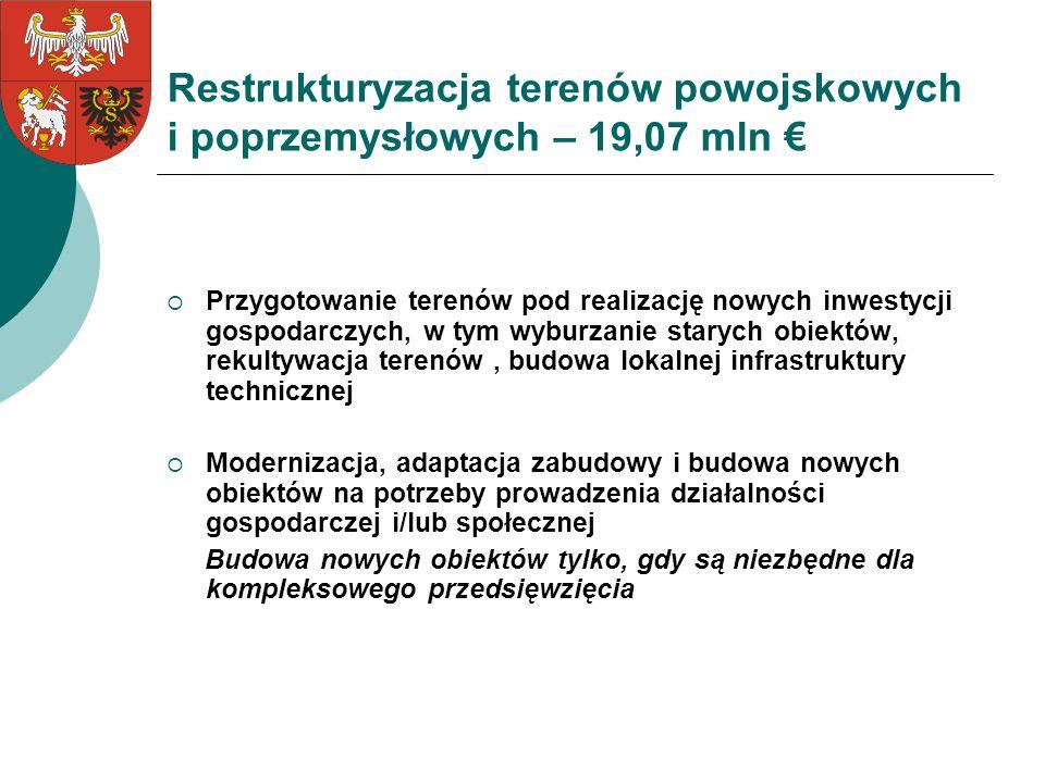 Restrukturyzacja terenów powojskowych i poprzemysłowych – 19,07 mln €