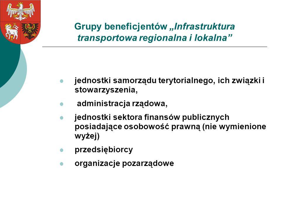 """Grupy beneficjentów """"Infrastruktura transportowa regionalna i lokalna"""