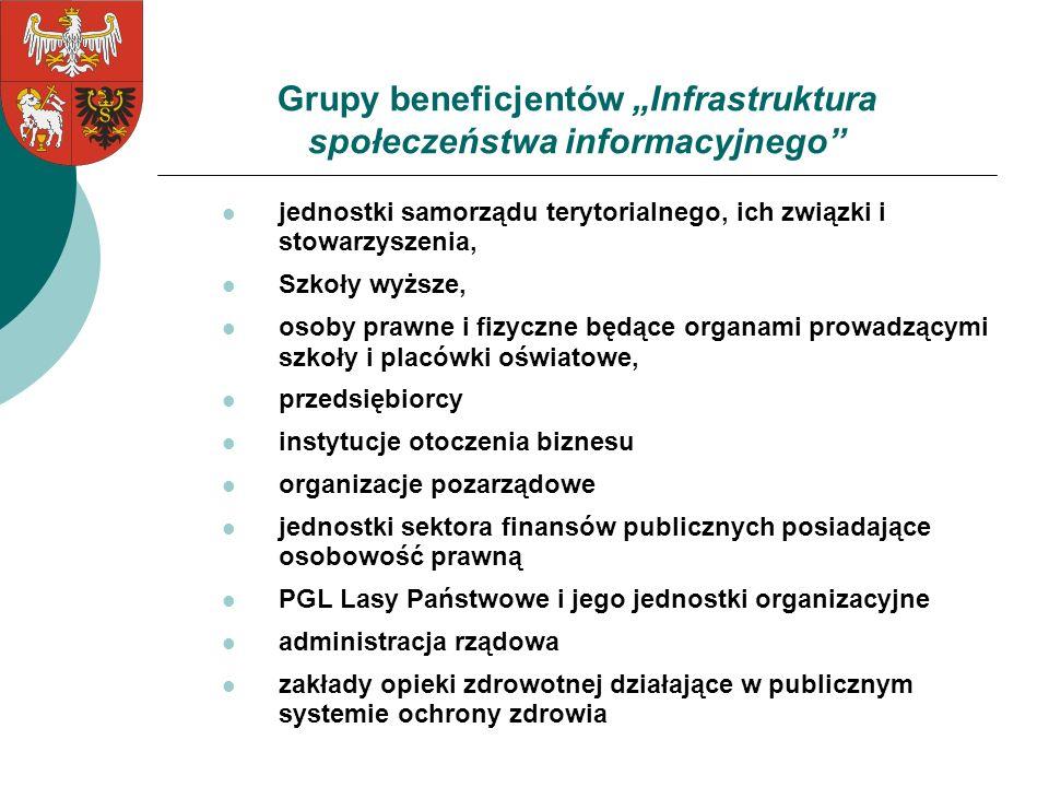 """Grupy beneficjentów """"Infrastruktura społeczeństwa informacyjnego"""