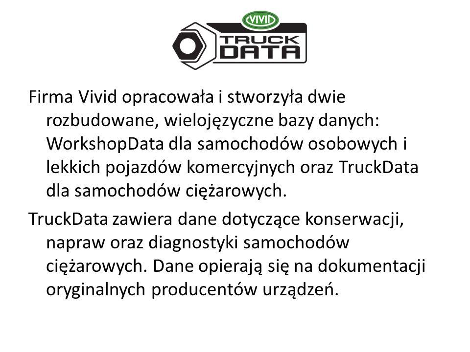 Firma Vivid opracowała i stworzyła dwie rozbudowane, wielojęzyczne bazy danych: WorkshopData dla samochodów osobowych i lekkich pojazdów komercyjnych oraz TruckData dla samochodów ciężarowych.
