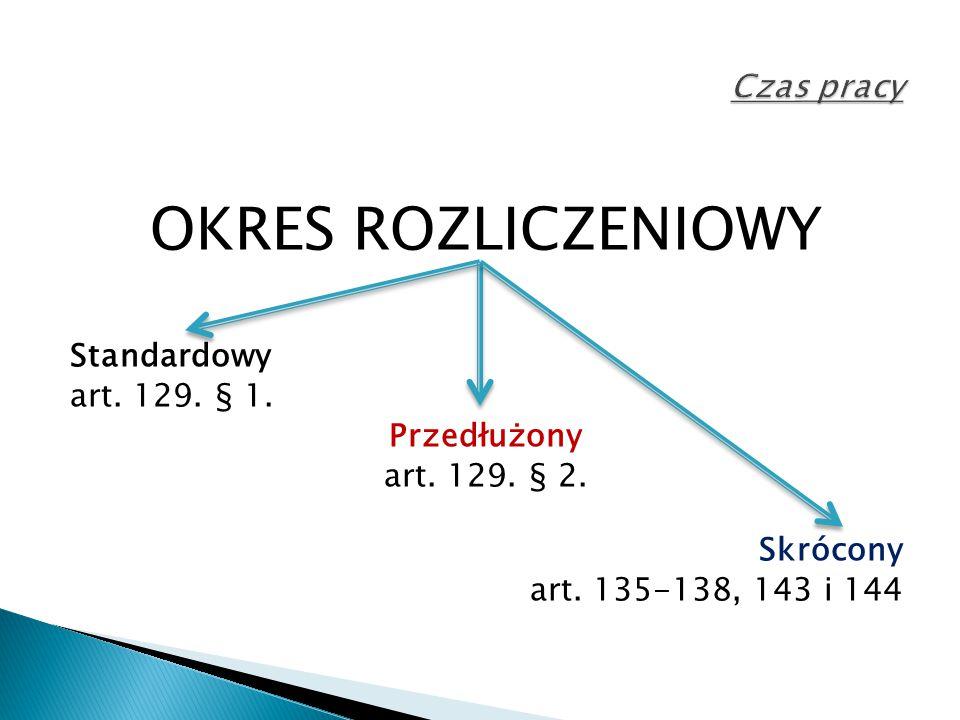 OKRES ROZLICZENIOWY Czas pracy Standardowy art. 129. § 1. Przedłużony