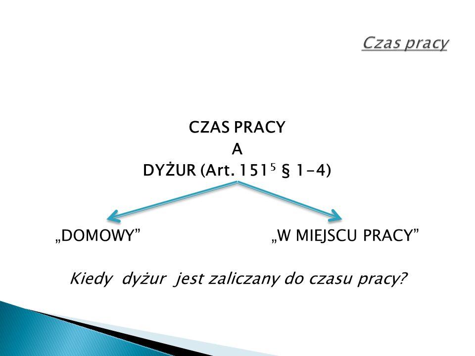 Czas pracy CZAS PRACY A DYŻUR (Art.