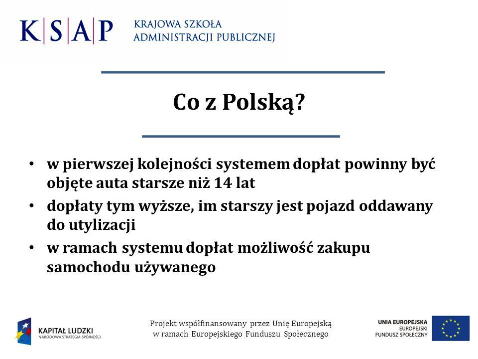 Co z Polską w pierwszej kolejności systemem dopłat powinny być objęte auta starsze niż 14 lat.