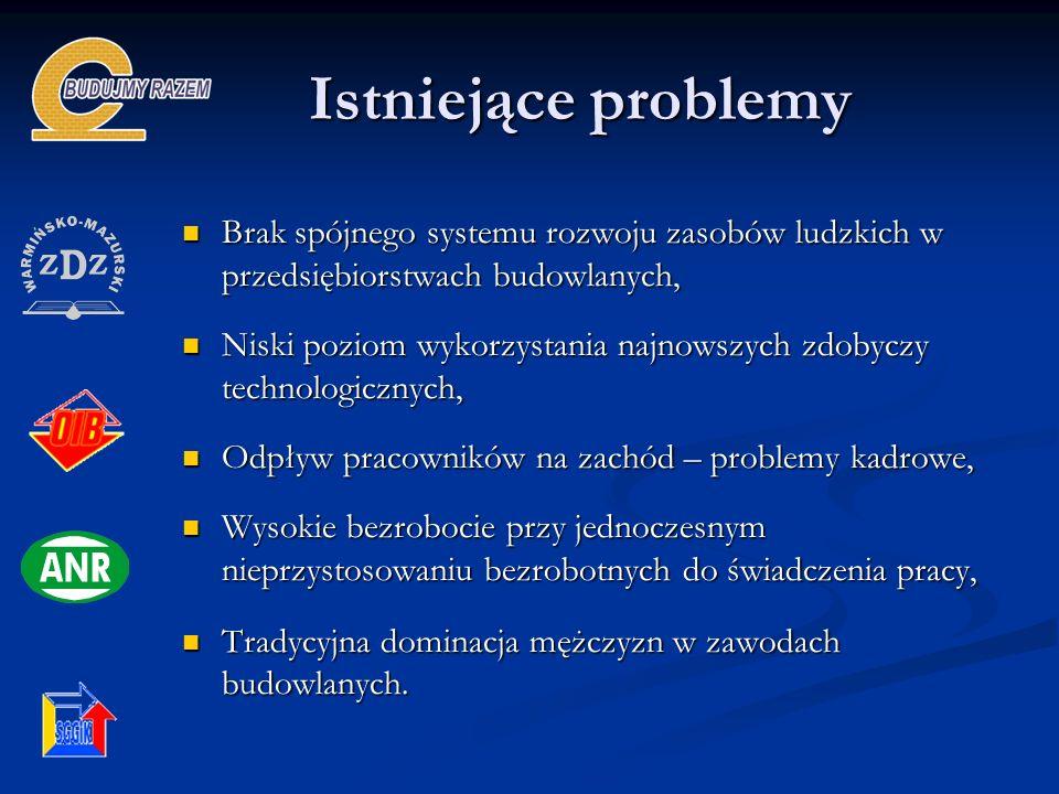 Istniejące problemy Brak spójnego systemu rozwoju zasobów ludzkich w przedsiębiorstwach budowlanych,