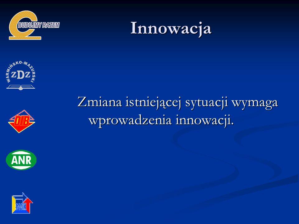 Innowacja Zmiana istniejącej sytuacji wymaga wprowadzenia innowacji.