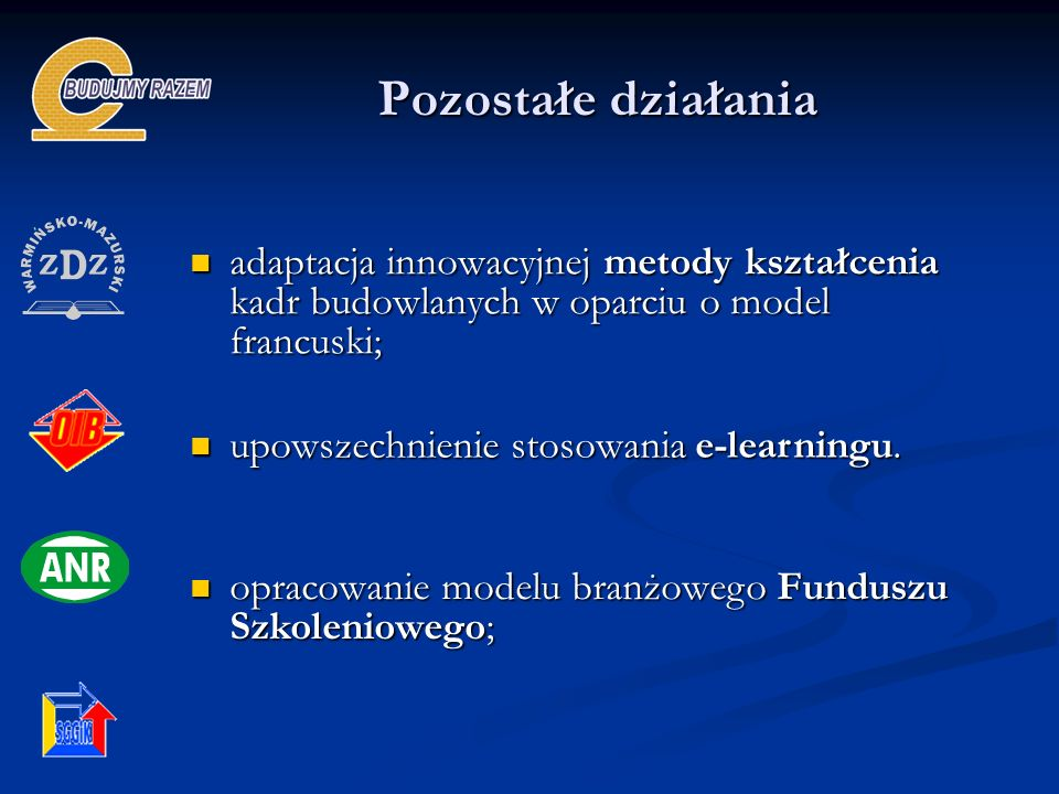 Pozostałe działaniaadaptacja innowacyjnej metody kształcenia kadr budowlanych w oparciu o model francuski;